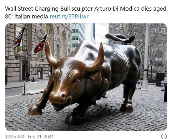 """30年前""""非法放牛""""成地标 华尔街铜牛艺术家意大利离世"""