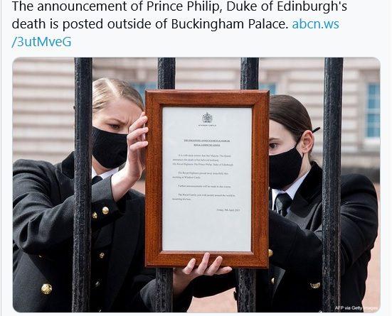 英国女王丈夫菲利普亲王去世 白金汉宫贴讣告降半旗